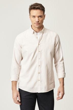 AC&Co / Altınyıldız Classics Erkek Bej Tailored Slim Fit Çizgili Düğmeli Yaka Gömlek