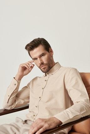 AC&Co / Altınyıldız Classics Erkek Bej-Beyaz Tailored Slim Fit Düğmeli Yaka Kareli Gömlek