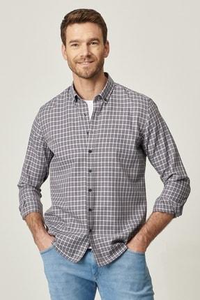 AC&Co / Altınyıldız Classics Erkek Bej-Kahverengi Tailored Slim Fit Dar Kesim Düğmeli Yaka Kareli Gömlek