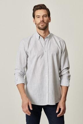 AC&Co / Altınyıldız Classics Erkek HAKI-LACI Tailored Slim Fit Dar Kesim Düğmeli Yaka %100 Koton Gömlek