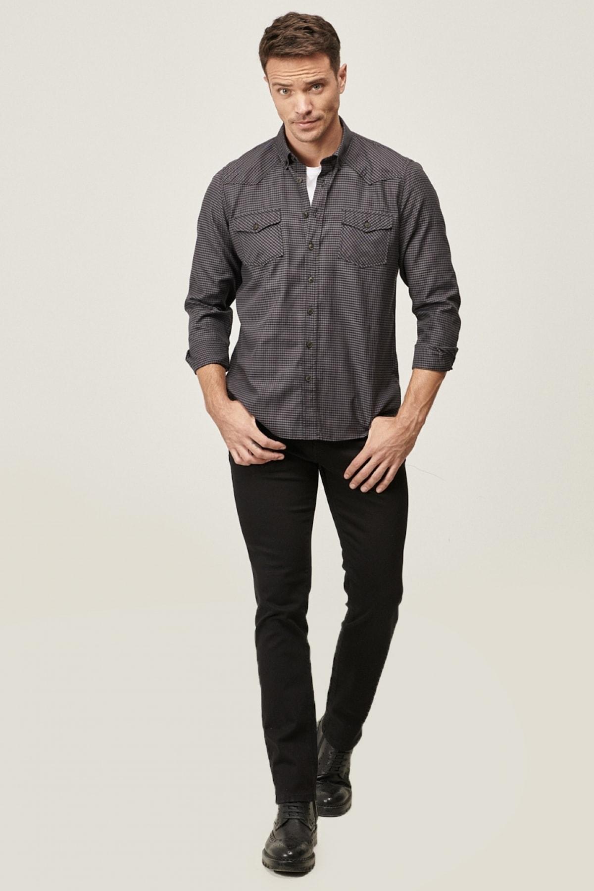 ALTINYILDIZ CLASSICS Erkek Siyah 360 Derece Her Yöne Esneyen Rahat Slim Fit Pantolon 1