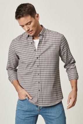 AC&Co / Altınyıldız Classics Erkek Gri-Lacivert Tailored Slim Fit Dar Kesim Düğmeli Yaka Kareli Gömlek