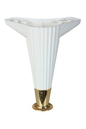 PVCBURADA Asya Çizgili 20cm Beyaz / Gold Mobilya Ayağı- Dolap, Koltuk , Tv Ünitesi Ayağı