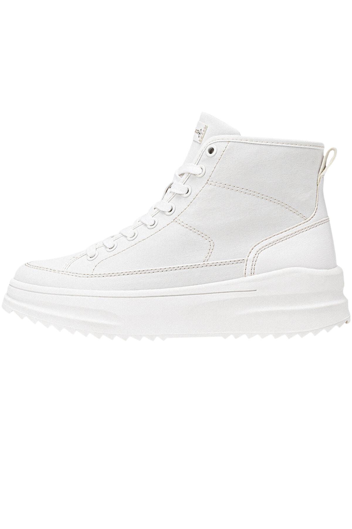 Stradivarius Kadın Beyaz Kumaş Bilekli Spor Ayakkabı 19005770