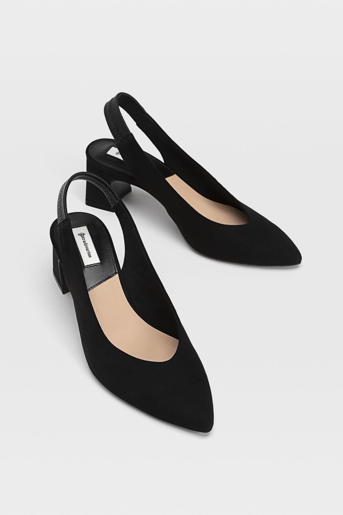 Stradivarius Kadın Siyah Sivri Burunlu Arkası Açık Topuklu Ayakkabı 19150770 2
