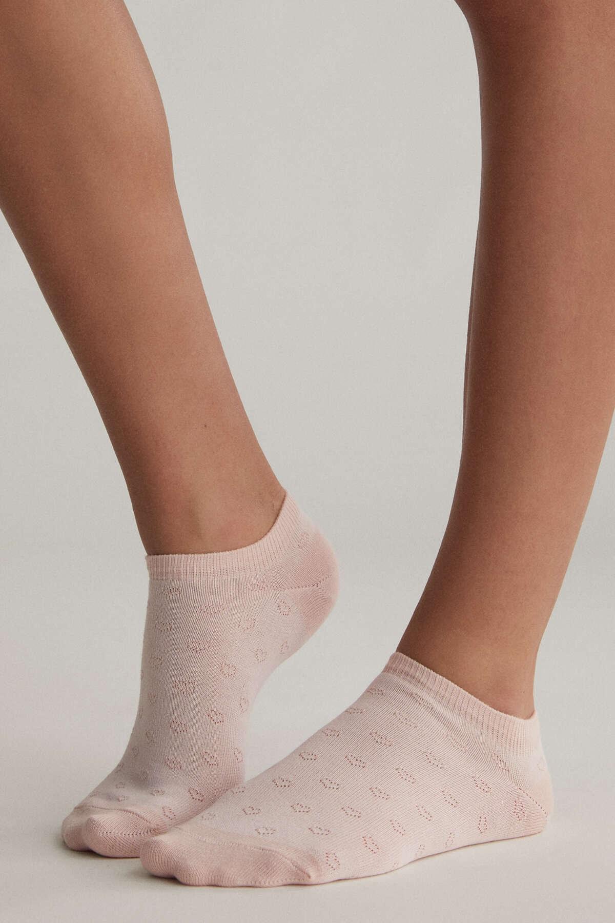 Oysho Kadın 5 Çift Desenli Pamuklu Bilek Boyu Çorap Pembe 32289488