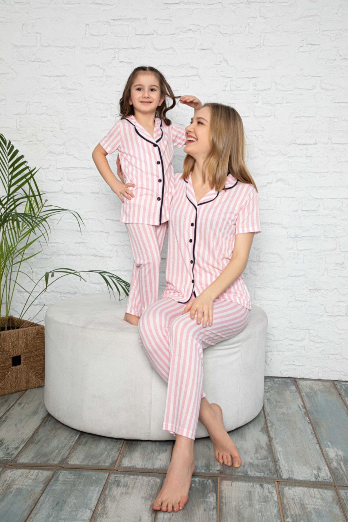 modalizy Anne Kız Pembe Çizgili Desen Pijama Kombinleri 1