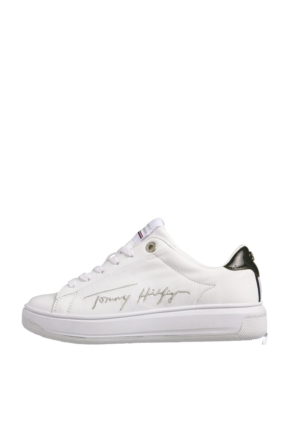 Tommy Hilfiger Kadın Beyaz Sneaker Sıgnature Tommy Deri Cupsole FW0FW05219 1