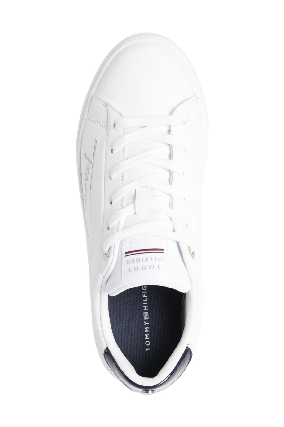 Tommy Hilfiger Kadın Beyaz Sneaker Sıgnature Tommy Deri Cupsole FW0FW05219 2