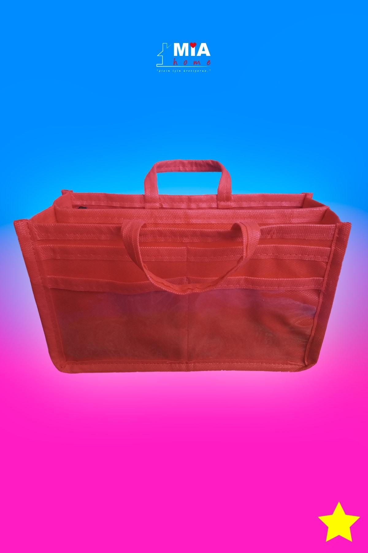 MİA Home Production Makyaj Ve Çok Amaçlı Kırmızı Çanta Içi Düzenleyeyici  Organizer 2