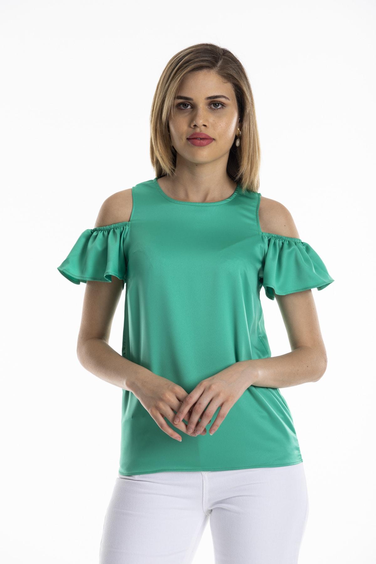 dm street style Kadın Yeşil Ipek Saten Omuzu Açık Kolu Lastikli Bluz 1