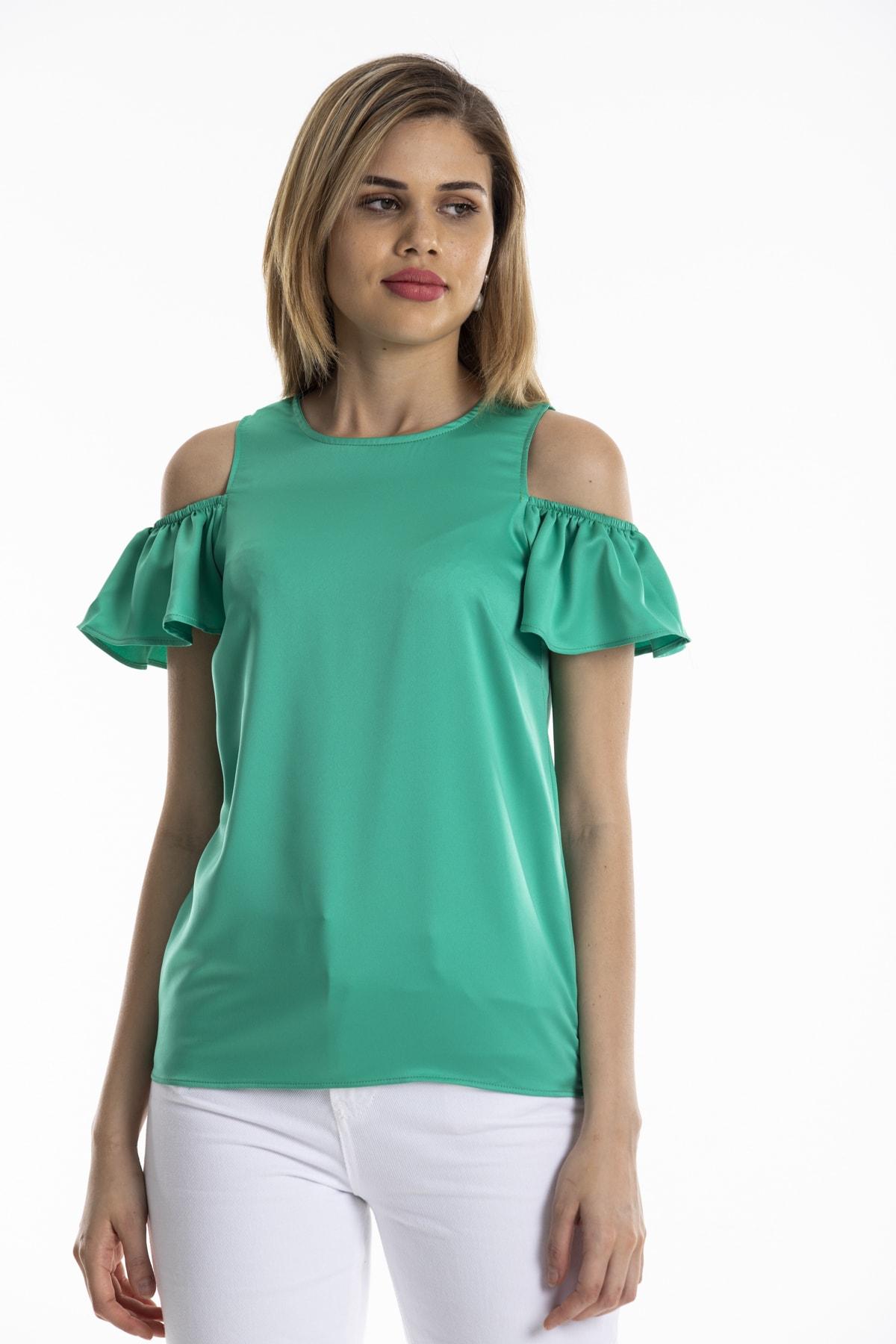 dm street style Kadın Yeşil Ipek Saten Omuzu Açık Kolu Lastikli Bluz 2