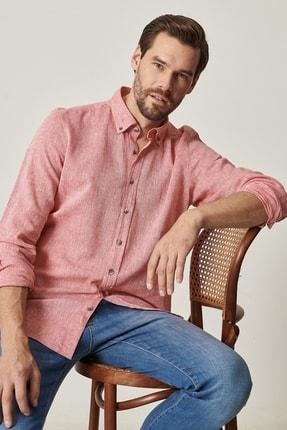 ALTINYILDIZ CLASSICS Erkek Kırmızı Tailored Slim Fit Keten Gömlek