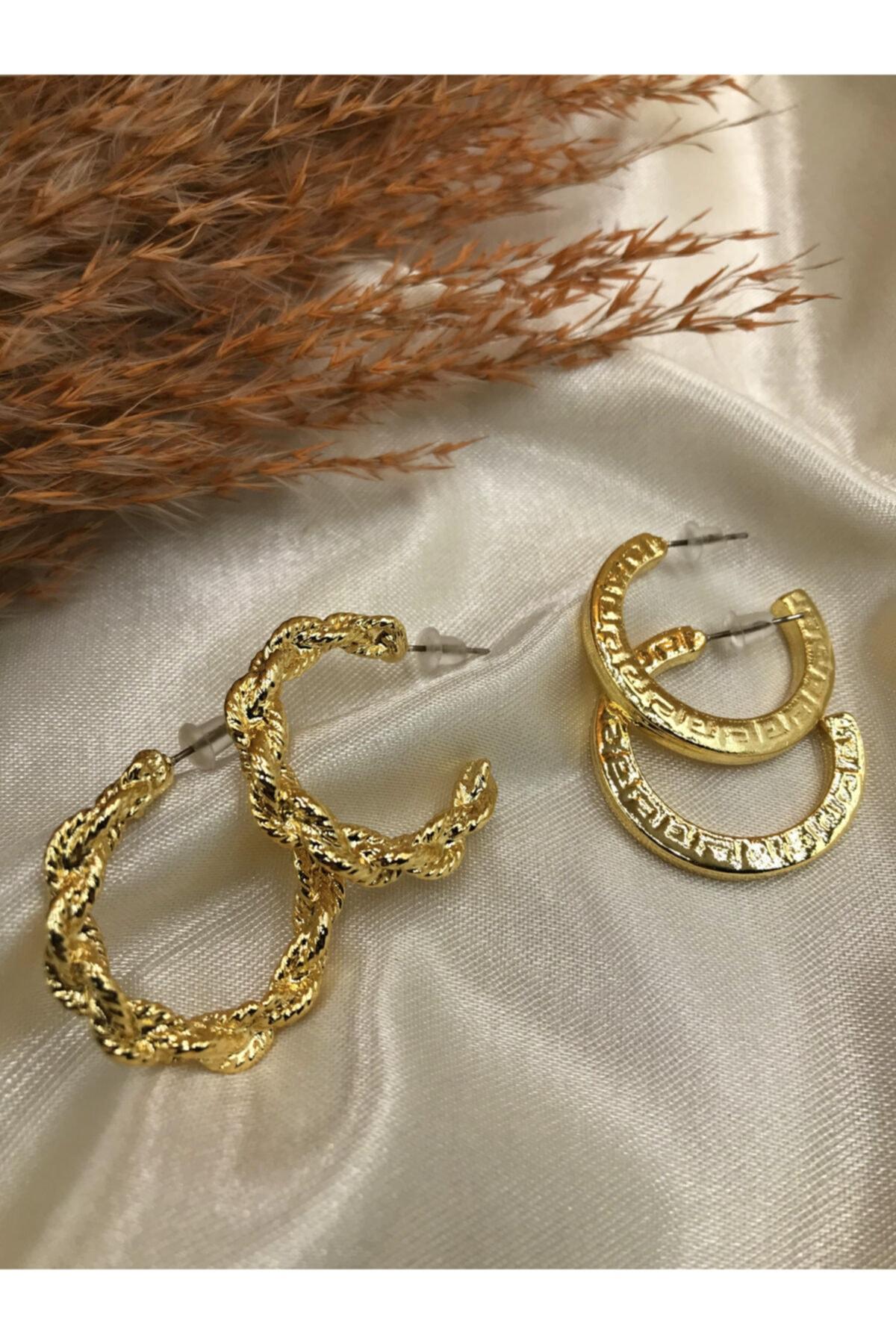 Eylülün Takısı Kadın Gold Renk İkili Aşk Küpeleri 1