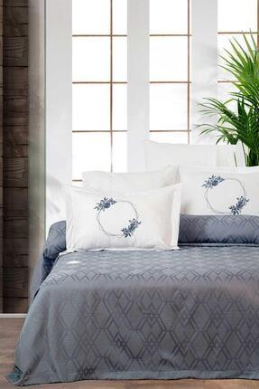 Elart Mavi Pamuklu Yatak Örtüsü Seti Çift Kişilik 6 Parça Meloni