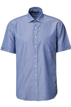 ALTINYILDIZ CLASSICS Erkek Lacivert-Mavi Regular Fit Kısa Kollu Gömlek