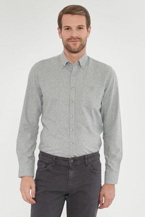 ALTINYILDIZ CLASSICS Erkek Açık Gri Tailored Slim Fit Dar Kesim Düğmeli Yaka Kışlık Gömlek