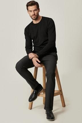 ALTINYILDIZ CLASSICS Erkek Siyah Slim Fit Dar Kesim Yan Cep Desenli Beli Bağlamalı Rahat Pantolon