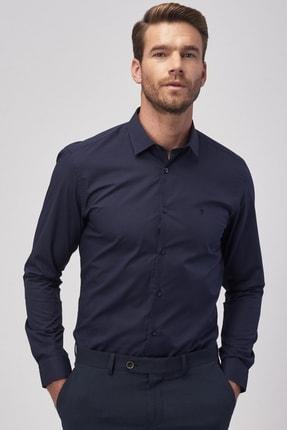 ALTINYILDIZ CLASSICS Erkek Koyu Lacivert Tailored Slim Fit Klasik Gömlek