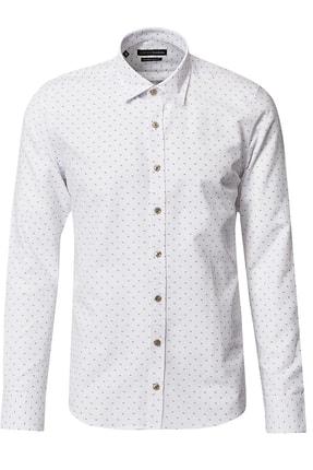 ALTINYILDIZ CLASSICS Erkek Beyaz-Haki Tailored Slim Fit Baskılı Gömlek