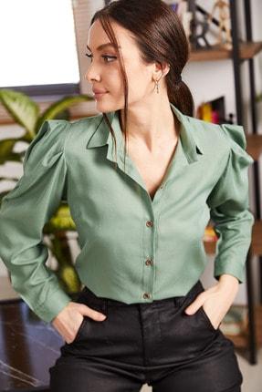 armonika Kadın Yeşil Karpuz Kol Gömlek ARM-20K001114