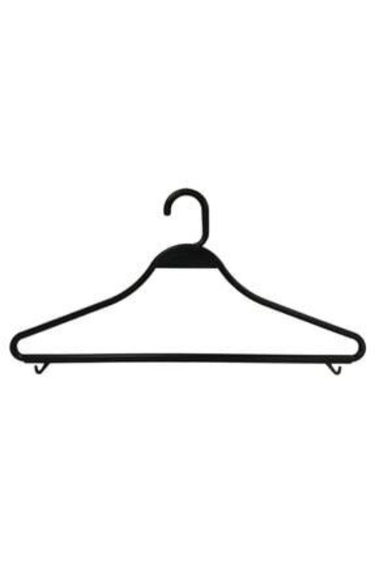 Askıcı Kıyafet Askısı Plastik Kırılmaz Siyah 50 Adet 2