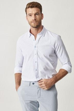 ALTINYILDIZ CLASSICS Erkek Beyaz-Açık Mavi Baskılı Düğmeli Yaka Tailored Slim Fit Gömlek