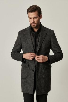 ALTINYILDIZ CLASSICS Erkek Siyah-Gri Standart Fit Desenli Palto