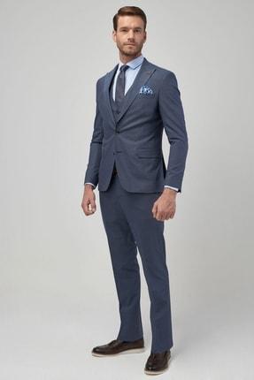 ALTINYILDIZ CLASSICS Erkek Mavi Ekstra Slim Fit Desenli Su Geçirmez Yelekli Nano Takım Elbise