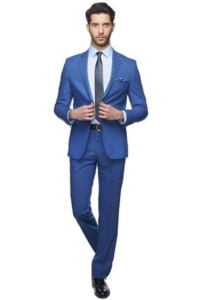 ALTINYILDIZ CLASSICS ERKEK Mavi Slim Fit Dar Kesim Su Geçirmez Yünlü Nano Takım Elbise