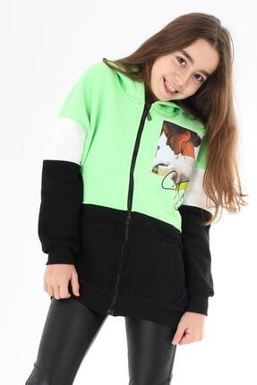 Enisena Yeşil Kız Çocuk Fermuarlı Kapşonlu Hırka