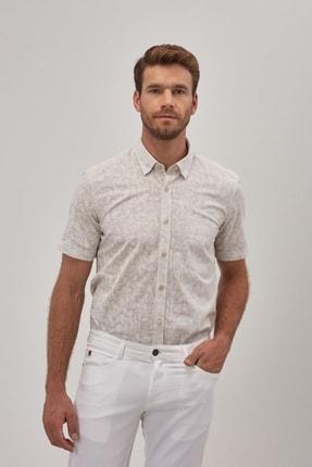 ALTINYILDIZ CLASSICS Erkek Bej Tailored Slim Fit Kısa Kollu Gömlek