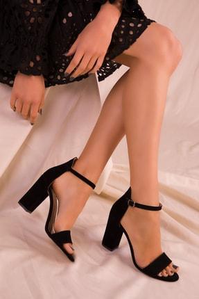 SOHO Siyah Süet Kadın Klasik Topuklu Ayakkabı 14532