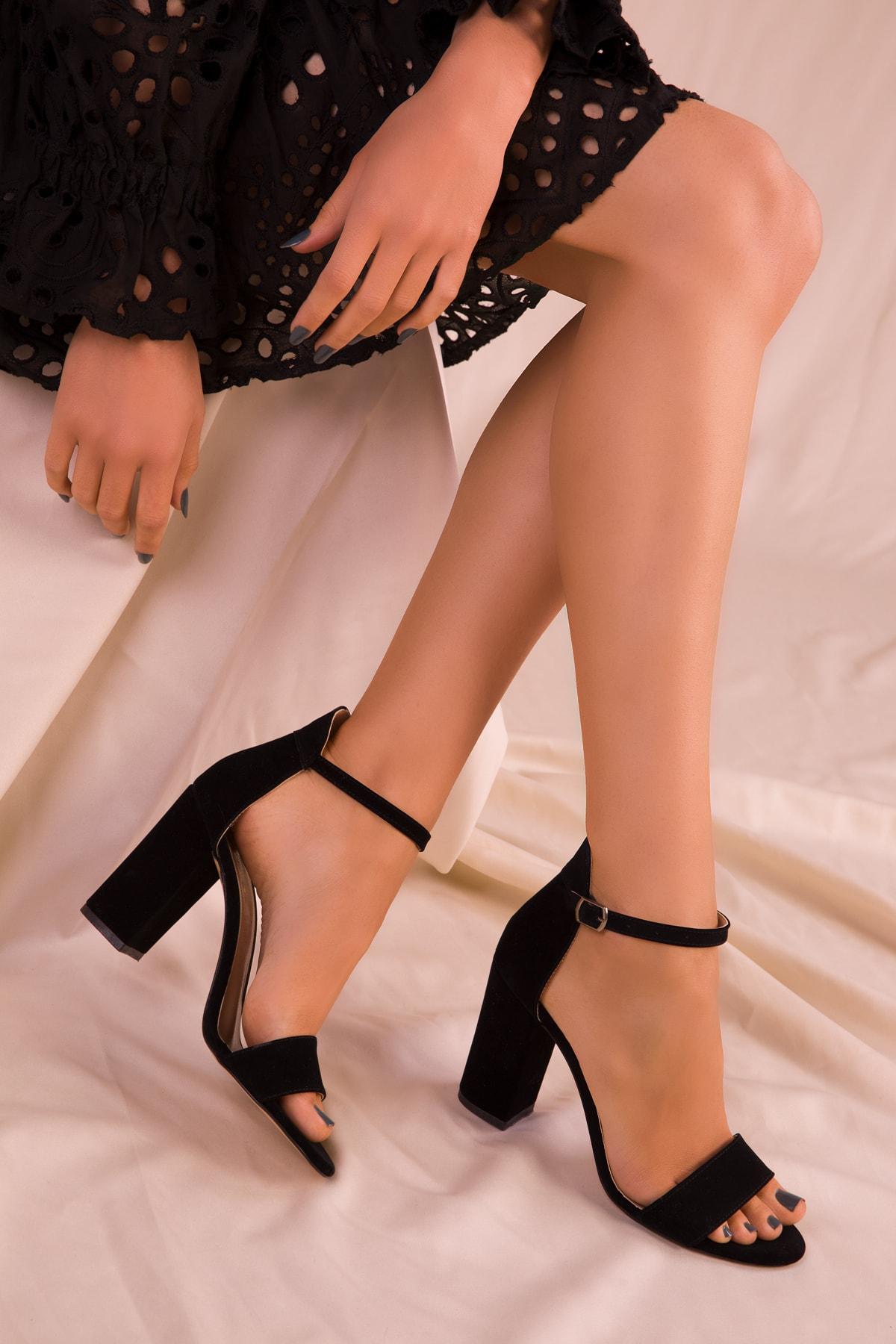 SOHO Siyah Süet Kadın Klasik Topuklu Ayakkabı 14532 1