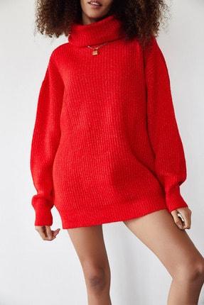 XENA Kadın Kırmızı Balıkçı Yaka Salaş Triko Elbise 1KZK3-11274-04