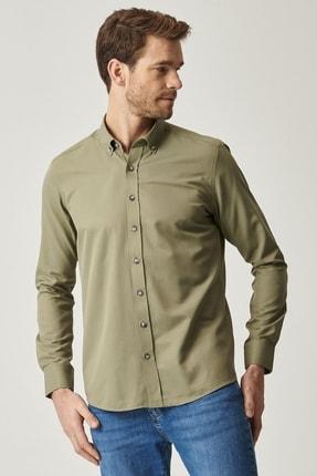 AC&Co / Altınyıldız Classics Erkek Haki Tailored Slim Fit Dar Kesim Düğmeli Yaka Gabardin Gömlek