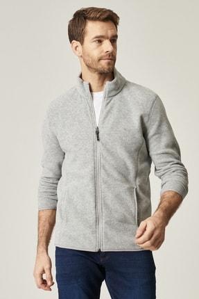 AC&Co / Altınyıldız Classics Erkek Gri Standart Fit Günlük Rahat Tam Fermuarlı Bato Yaka Polar Spor Sweatshirt