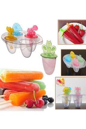 GAT Shop Plastik Hayvan Figürlü Çocuklar Için 4'lü Meybuz Dondurma Yapma Kalıbı Meyveli Buz Küpü