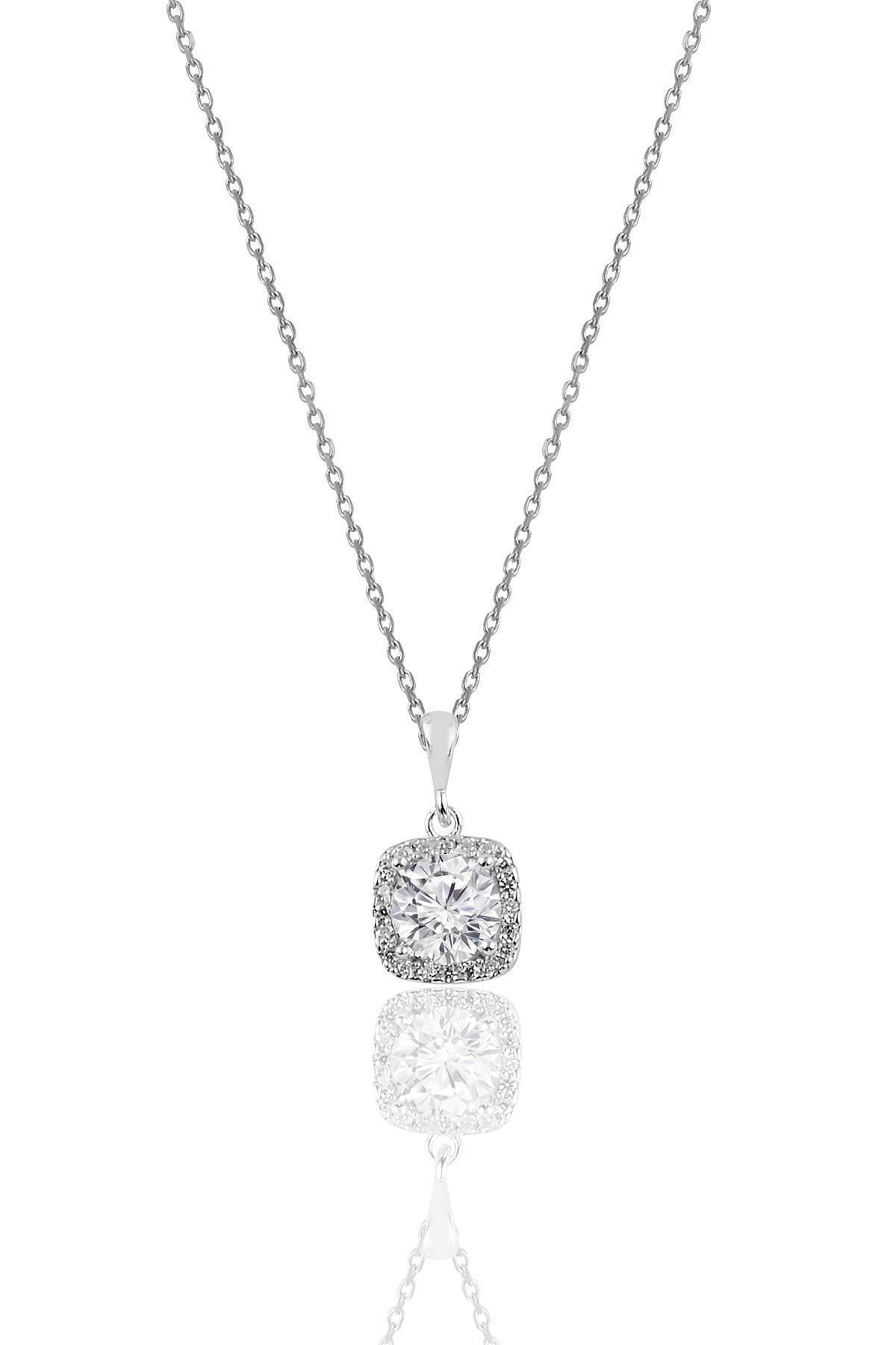 Söğütlü Silver Gümüş Rodyumlu Zirkon Taşlı Kare Üçlü Set 2