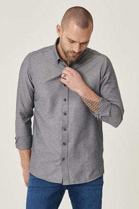 AC&Co / Altınyıldız Classics Erkek Koyu Lacivert Tailored Slim Fit Dar Kesim Düğmeli Yaka Gabardin Gömlek