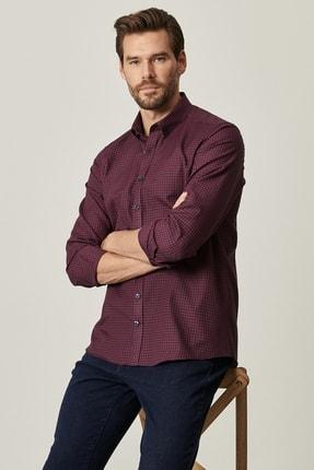 AC&Co / Altınyıldız Classics Erkek Lacivert-Bordo Tailored Slim Fit Dar Kesim Düğmeli Yaka Kareli Gömlek