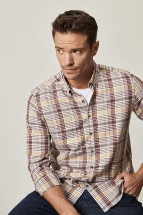 AC&Co / Altınyıldız Classics Erkek Kahverengi-Bej Tailored Slim Fit Düğmeli Yaka Kareli Gömlek