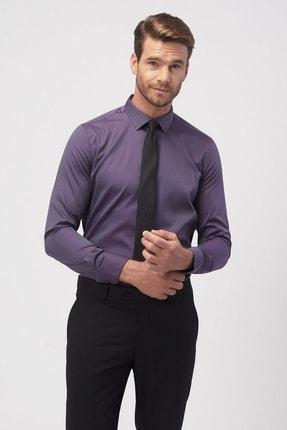 ALTINYILDIZ CLASSICS Erkek Bordo Tailored Slim Fit Armürlü Gömlek