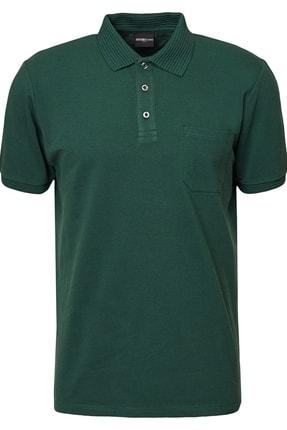 ALTINYILDIZ CLASSICS Erkek Yeşil Polo Yaka Cepli Regular Fit Bol Kesim %100 Koton Düz Tişört