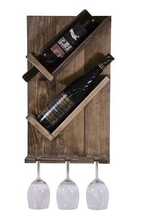 WOODENSA Ahşap Şaraplık Içki Standı Masif Duvar Kadeh Rafı