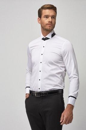 ALTINYILDIZ CLASSICS Erkek Beyaz Beyaz Damatlık Ata Yaka Tailored Slim Fit Gömlek