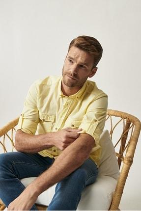 ALTINYILDIZ CLASSICS Erkek Sarı Düğmeli Yaka Tailored Slim Fit Casual Gömlek