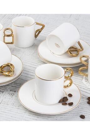ACAR Porselen Kahve Fıncanı 6'lı Set Gold