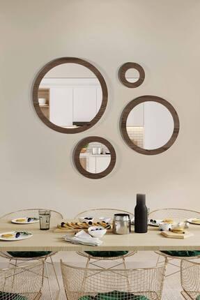 bluecape Doğal Ağaç Masif Ceviz Çerçeve 4'lü Set Antre Koridor Duvar Salon Banyo Ofis Çocuk Yatak Odası Ayna