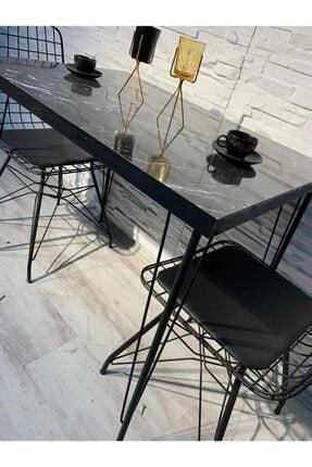 AVVİO Ezgi 2 Kişilik Yemek Masası Takımı-mutfak Masası Takımı-siyah Mermer Desenli